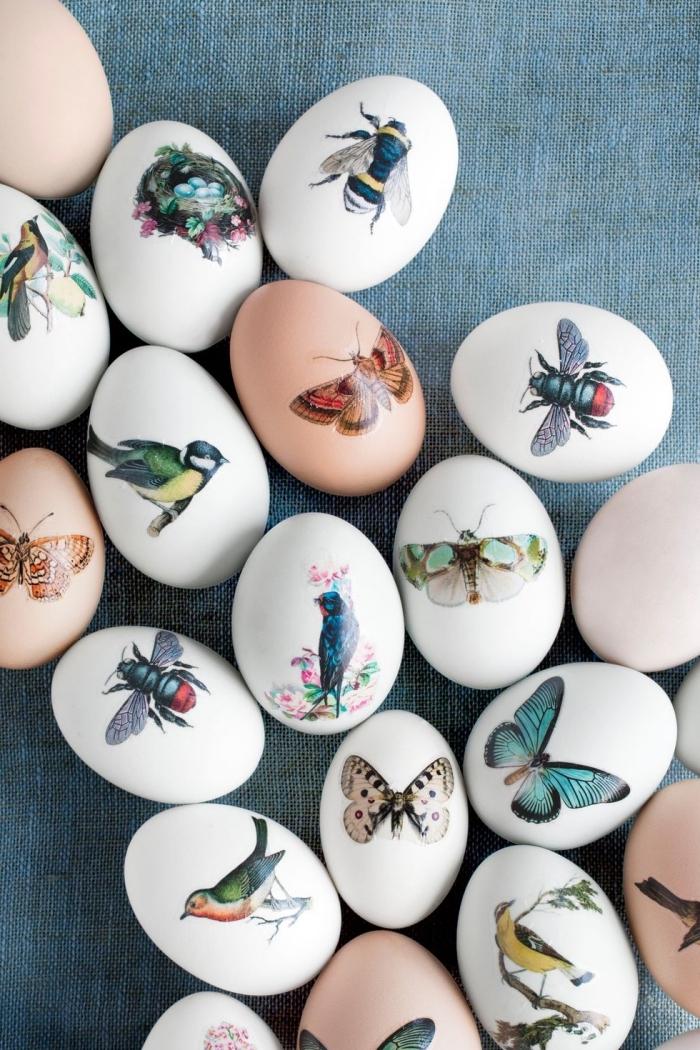 comment décorer les oeufs pour les paques 2018, modèle d'oeufs à coquille blanche décorée avec stickers autocollant