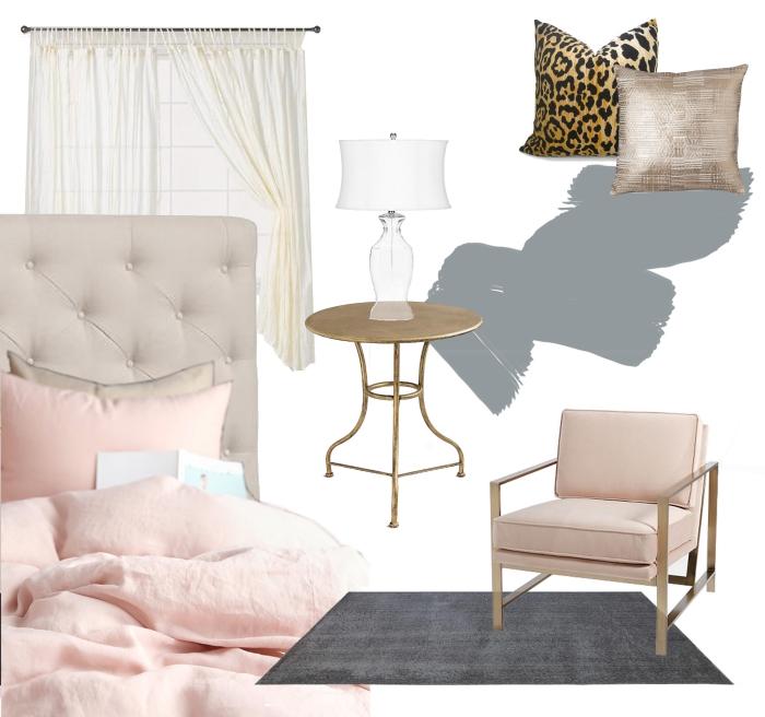 accessoires et objets de décoration pour chambre gris et blanc, modèle de lit en tête boutonné beige combiné avec table basse en cuivre