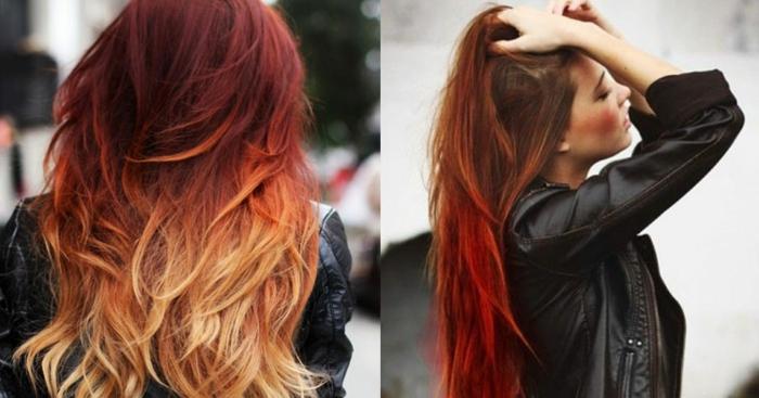 ombré rouge, couleur cheveux sunset, couleur initiale rouge et blond orangé