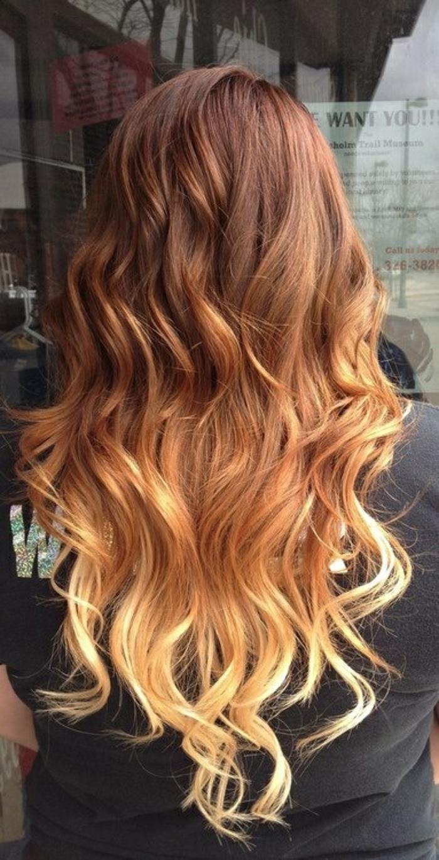 ombré hair miel, cheveux longs, cheveux mahagon aux mèches blondes