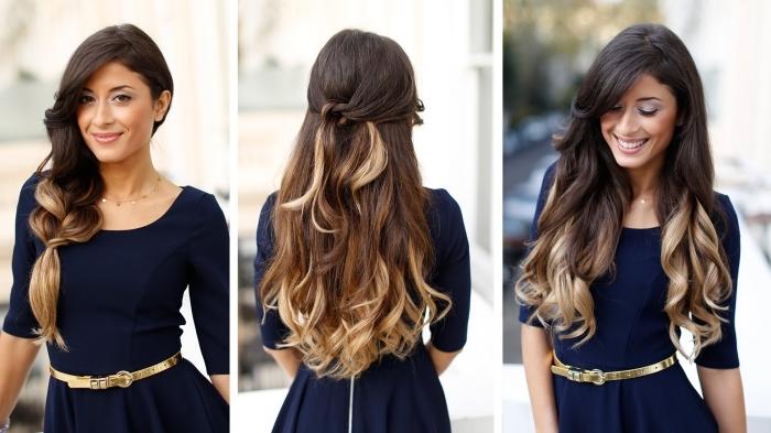 exemple de coiffures romantiques sur cheveux longs et bouclés de couleur ombré avec racines noires et pointes blondes