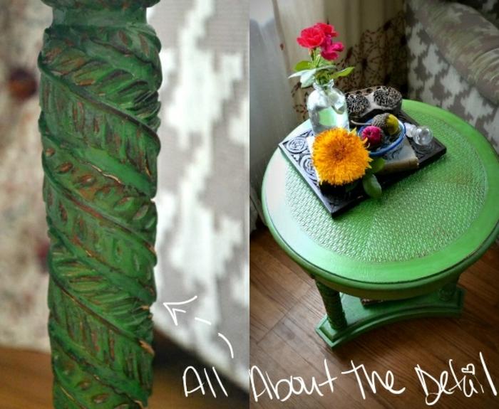 que faire pour relooker meuble, table ronde peinte verte, jolis détails et ornements au piètement