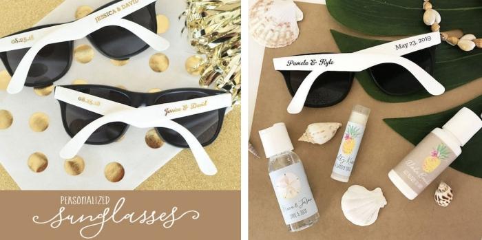 cadeau invité amusant en forme de lunettes de soleil en blanc et noir avec gravure les prénoms des nouveaux mariés