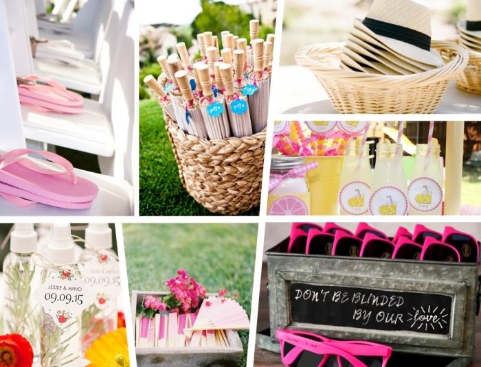 exemples de cadeau mariage invité pratique, accessoire de plage tongs lunettes de soleil capeline ou éventail