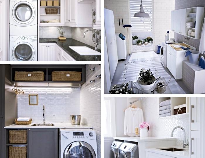 amenagement cellier en blanc et noir avec carrelage à design briques blanches et meubles de couleur gris anthracite