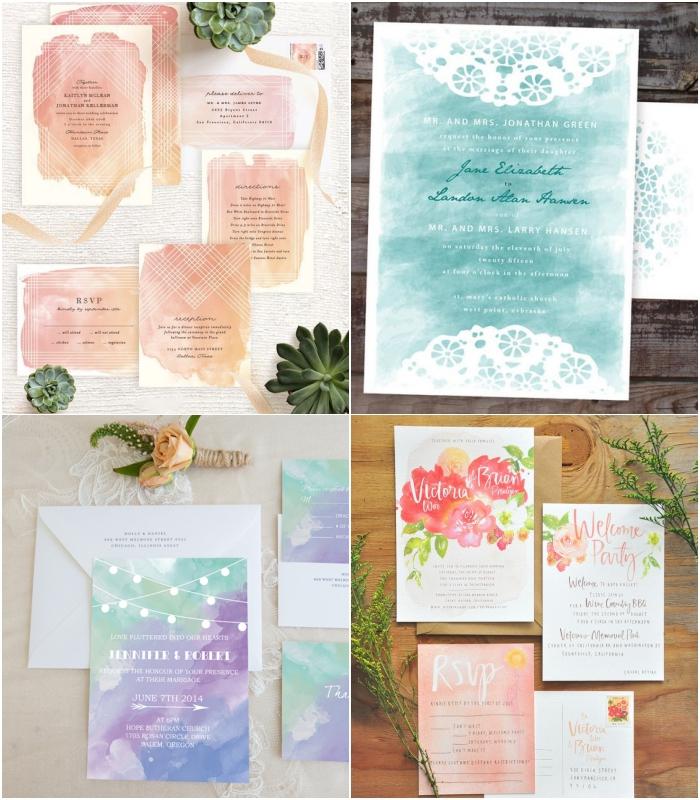 un faire part de mariage à l'aquarelle avec un joli dégradé de couleurs douces ou de simples motifs floraux réalisés avec cette technique de peinture tendance