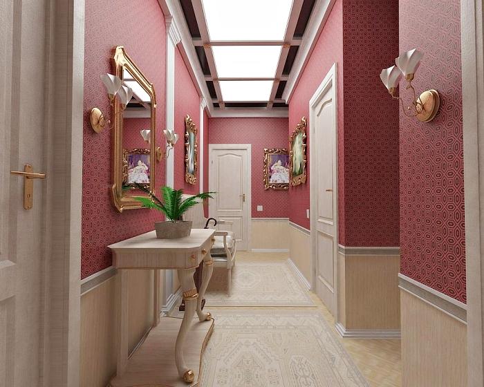 couloir en rouge et beige avec meubles de bois clair et objets à finition dorée, exemple de plafond avec fenetre