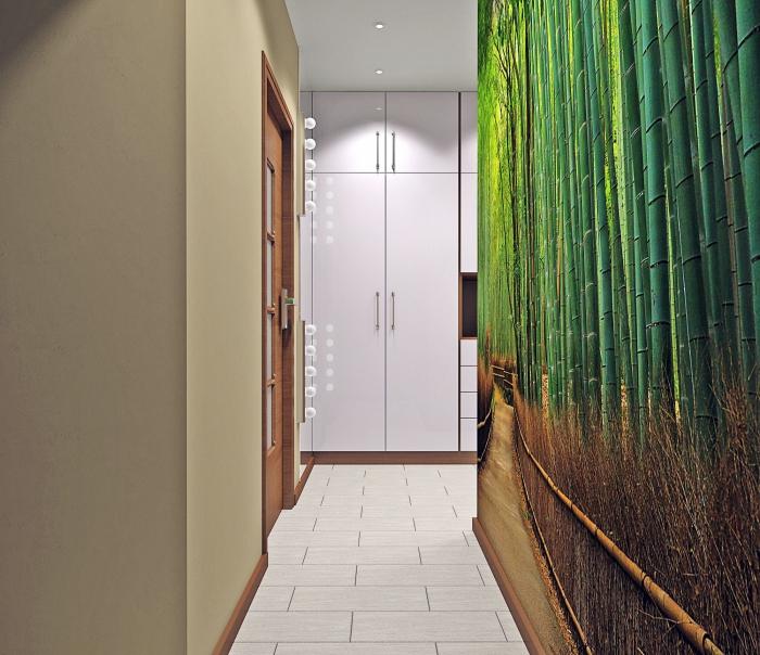comment ajouter une note tropicale dans la déco en beige et blanc avec revêtement pan de mur en papier peint design tropical