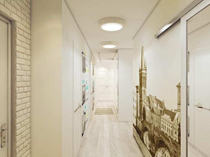 modèle de décoration murale pour le couloir avec pan de papier peint imitation briques blanches et papier trompe l'oeil