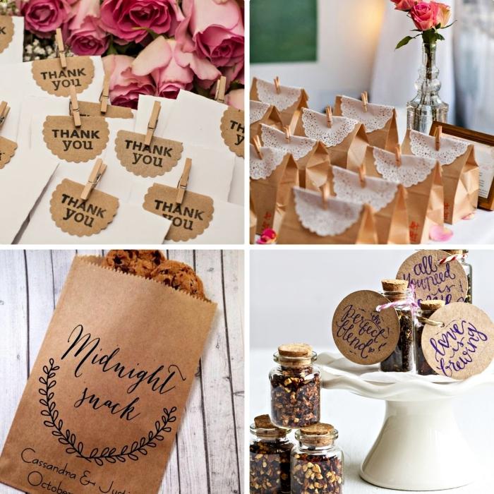 decoration mariage avec pochettes en papier recyclé pleines de cookies et sucreries pour les invités de mariage