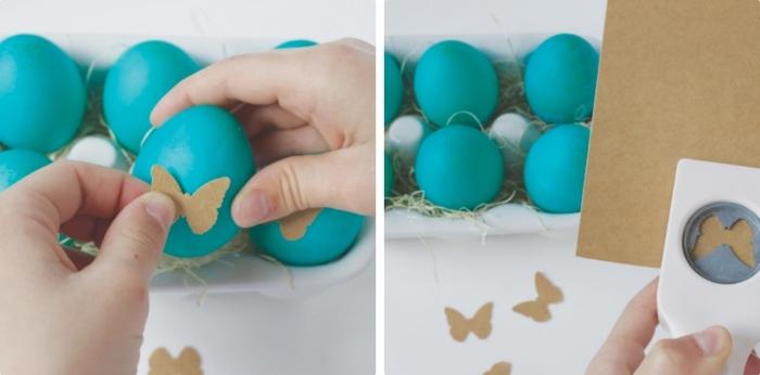 comment décorer les oeufs de pâques avec papillons de carton à effet 3D, peinture alimentaire de nuance turquoise