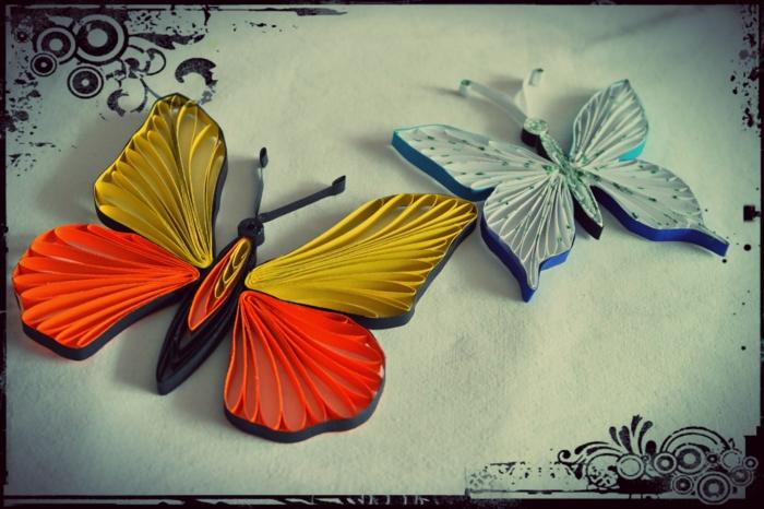 papillons en papier coloré, pliage de papier original et art à créer chez soi