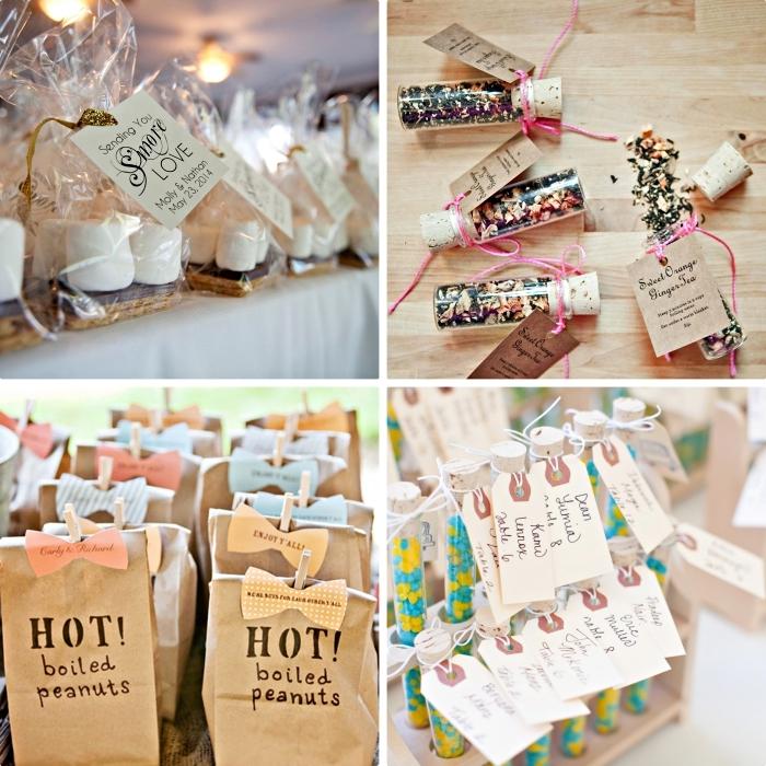 exemples et idée cadeau mariage pas cher à faire soi même, pack de cookies avec étiquette personnalisée