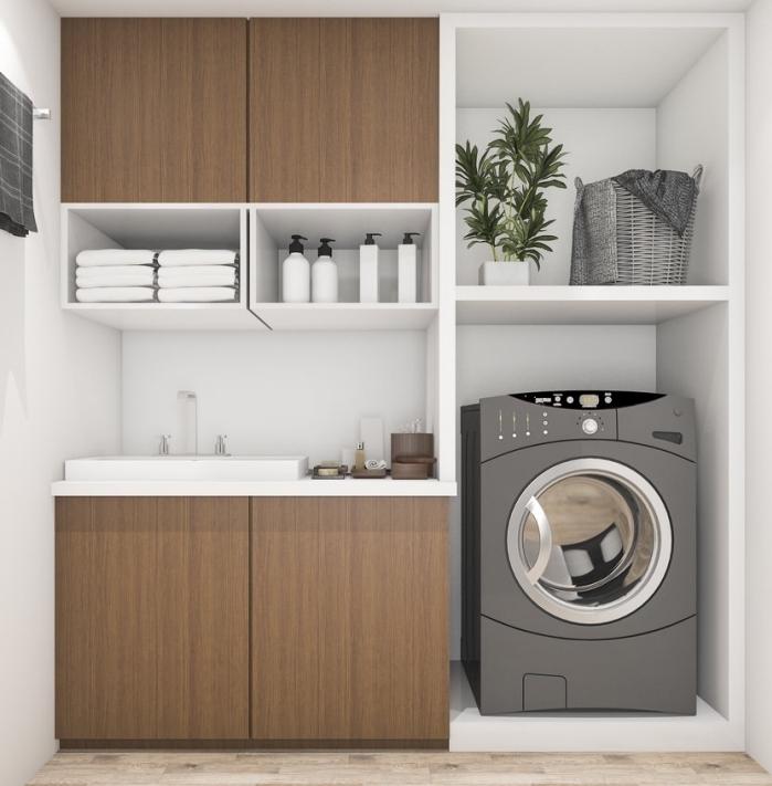 placard de rangement de bois foncé et blanc avec portes marron et étagères blanches, exemple évier dans une buanderie à espace limité