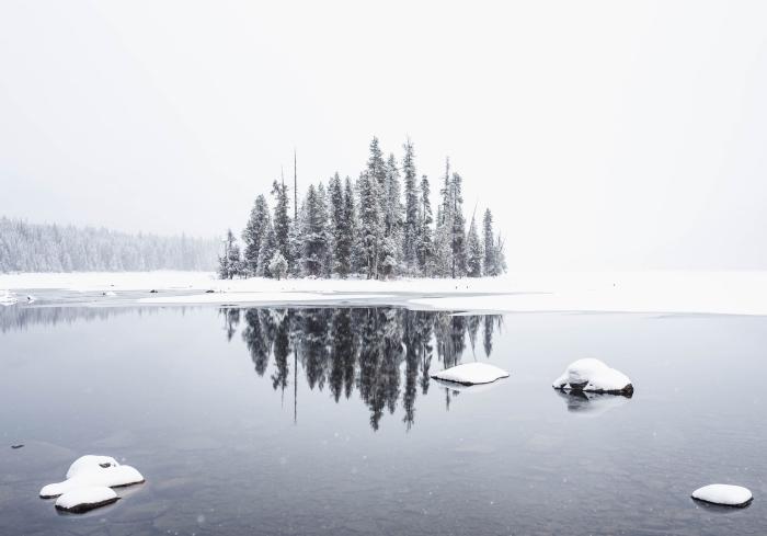 fond d écran magnifique avec une photo de la nature enneigée, petite foret au bord d'un lac avec brouillard et neige