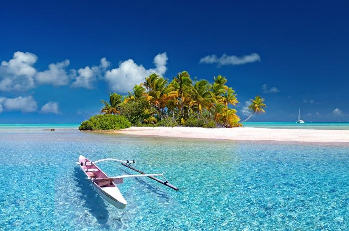 lieu paradisiaque, paysage de reve, endroit paradisiaque, plus belle plage du monde, palmes au vent marin sur une île au milieu d'un océan aux eaux bleu transparentes