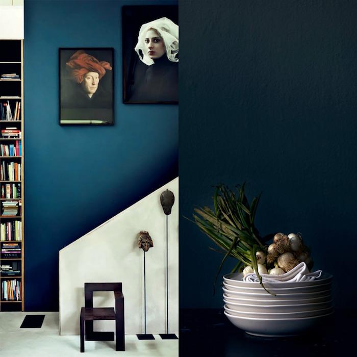 peinture murale bleu pétrole, déco salon bleu paon, idée pour décoration bleu canard