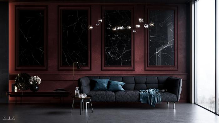 sofa bleu colombe, mur pourpre, sol gris et lisse, intérieur minimaliste, couleur peinture salon