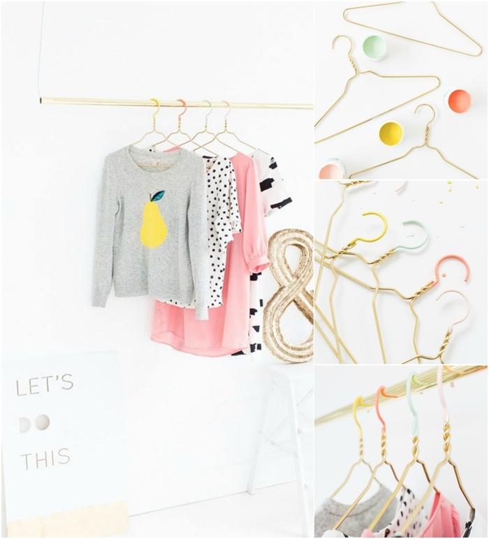 une penderie minimaliste en laiton avec des cintres personnalisées peintes en nuances pastel pour un joli accent deco pour chambre