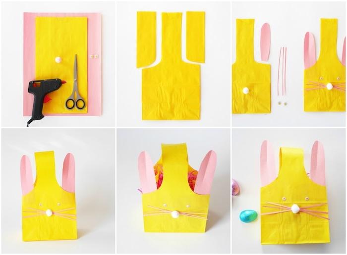 panier de paques en papier à motif lapin de paques avec oreilles en papier rose, bricolage paques primaire