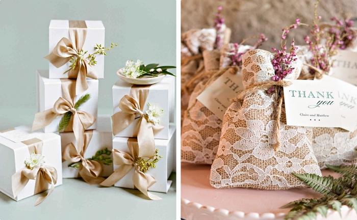 remerciement mariage en forme de pochettes aux herbes ou graines avec décoration en dentelle blanche