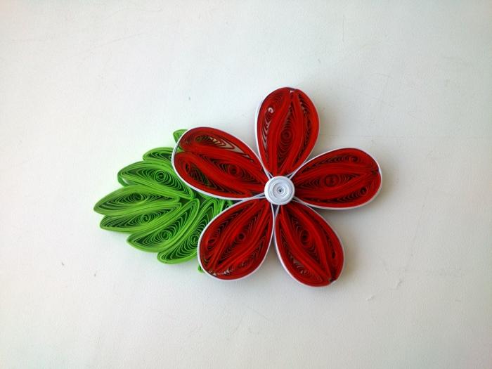 fleur avec cinq pétales rouges et une feuille composée de plusieurs éléments