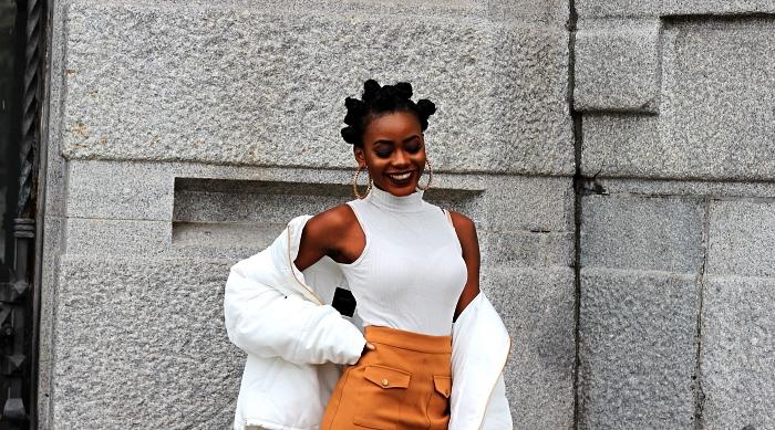 coiffure simple et rapide pour coupe afro courte, des noeuds bantous sur cheveux crépus courts, coiffure afro bantu knots