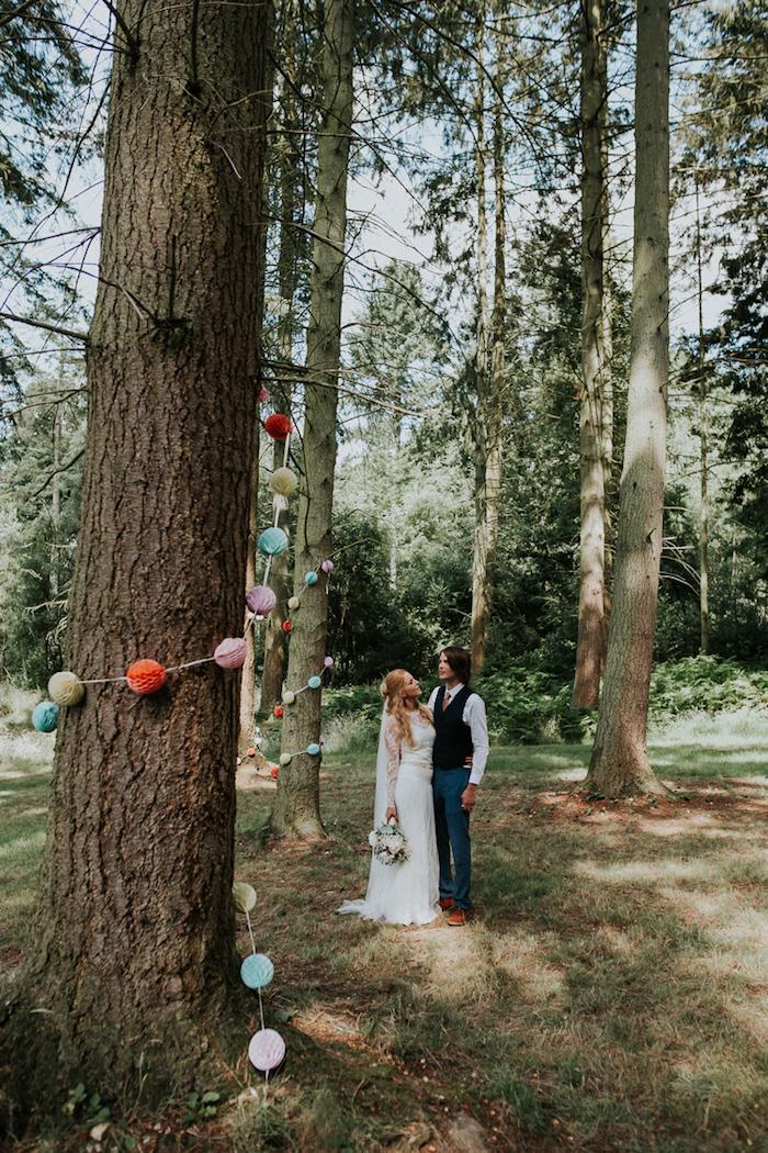 Belle photo de couple mariage champêtre style vintage robe de marie paris créateur de robe de mariée robe pour mon mariage
