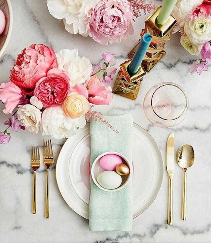 Deco de paques decoration paques facile table paques décoration pivoines marbre table