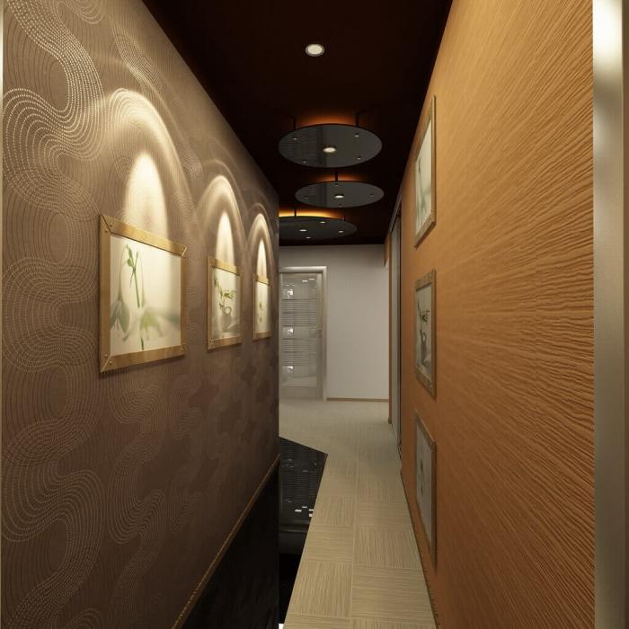 idée déco couloir, aménagement couloir long et étroit en nuances foncées, déco des murs taupe et bois avec cadres photos beige
