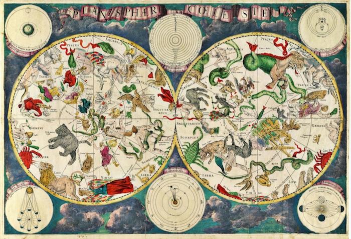 Carte du ciel ancien avec animaux et créatures mythiques