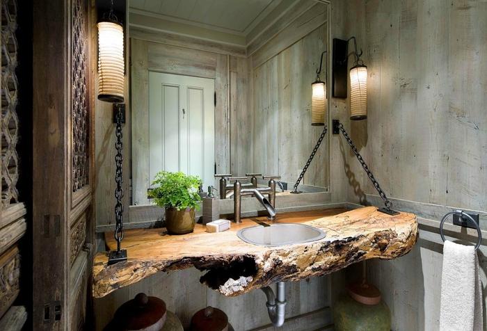 esthétique authentique dans une salle de bain industrielle équipée d'un plan-travai