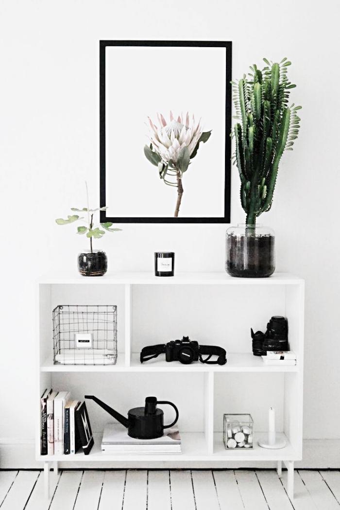 idée de déco minimaliste avec peinture murale et meubles blancs décorés d'objets en noir, meuble de rangement couloir