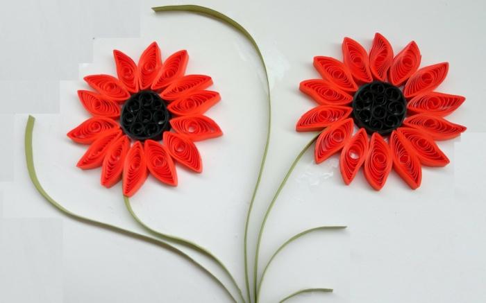 modèle de quilling fleurs rouges faciles à faire, créations artistiques