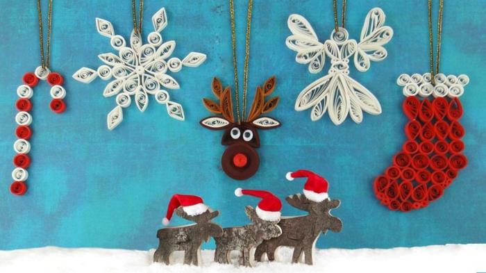 déco de Noel en papier de quilling, cerfs, chaussett, flocon de neige, ange et sucette