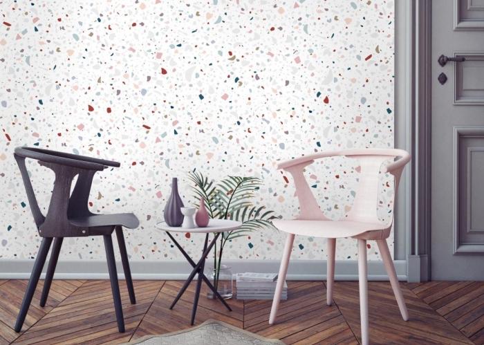 idée déco avec papier peint chambre à coucher ou salon aux motifs terrazo blanc avec couleurs pastel et meubles à design mate
