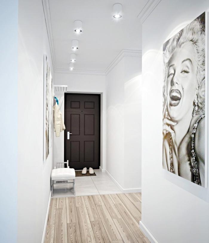 idée peinture couloir et entrée claires en blanc avec parquet de bois et décoration plafond en bordure de plâtre