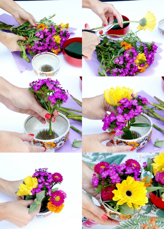 centre de table floral pour votre deco de paques originale, bol fleuri avec bouquet de fleurs à l intérieur