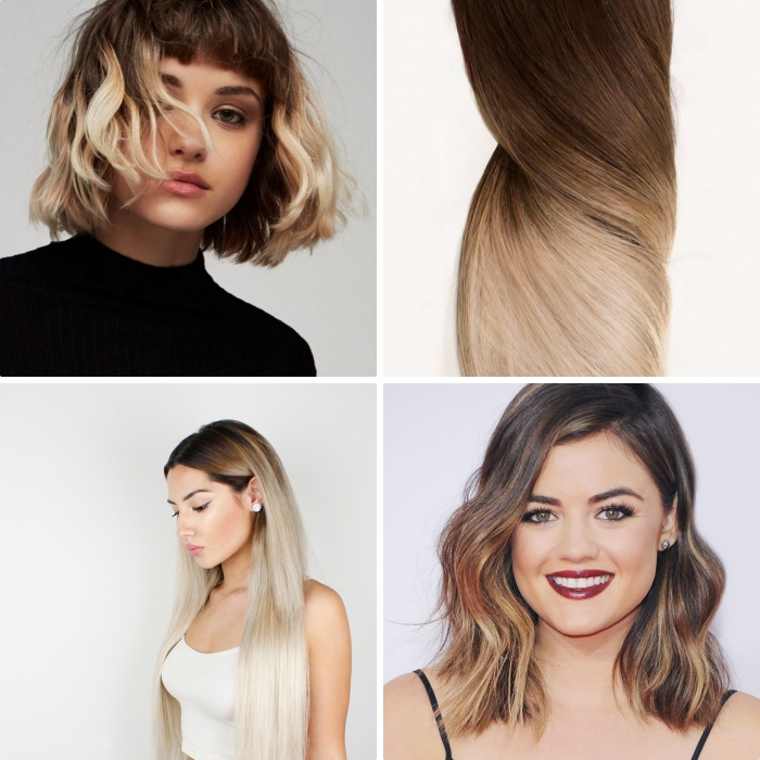 idées pour ombrage cheveux courts mi longs ou longs, coupe de cheveux courts avec frange courte et boucles
