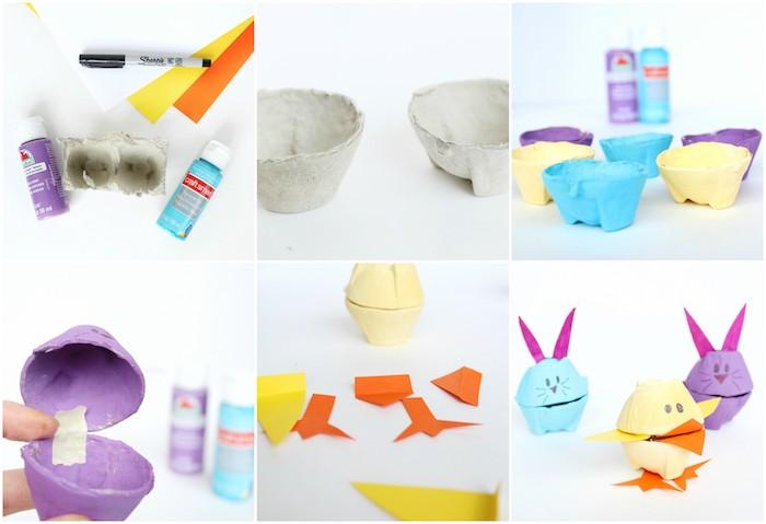 idée que faire avec une boite a oeufs, petites boîtes à bonbons colorées avec oreilles, bec et pattes en papier, dessin traits de visage, motif lapin de paques, poussin