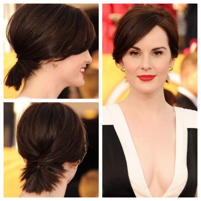 idée pour une coiffure coupe courte élégante aux cheveux châtain cuivré attachés en queue-de-cheval basse
