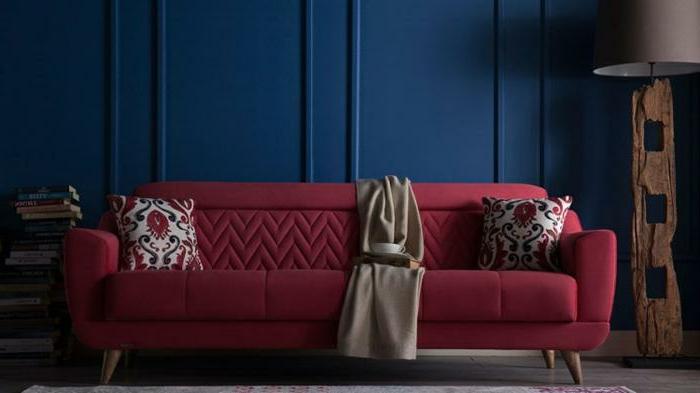 couleur de peinture tendance bleue, sofa couleur rouge, coussins floraux