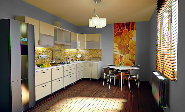 exemple de cuisine repeinte en gris clair avec meubles blancs