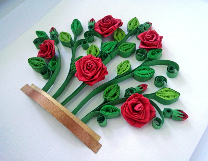 déco fleurie roses créée par une technique facile, tableau artistique 3d
