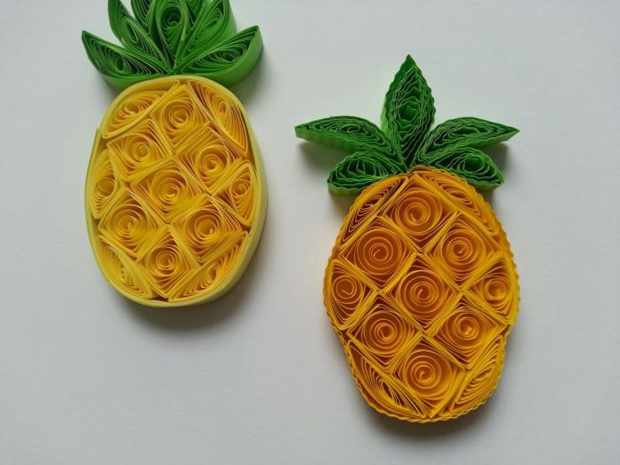 technique quilling débutant, des fruits créés avec du papier à plier