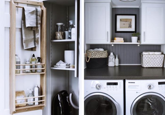 meuble buanderie de bois clair, comment aménager une pièce en blanc et gris avec objets noirs et beige, idée rangements pour espace limité
