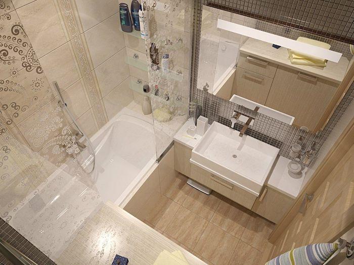 salle de bai italienne petite surface avec carrelage beige, lavabo blanc, carrelage sol beige, portes baignoire coulissantes, grand miroir