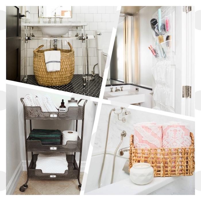 1001 astuces et id es d 39 am nagement petite salle de bain 2m2 - Astuce rangement produit salle de bain ...