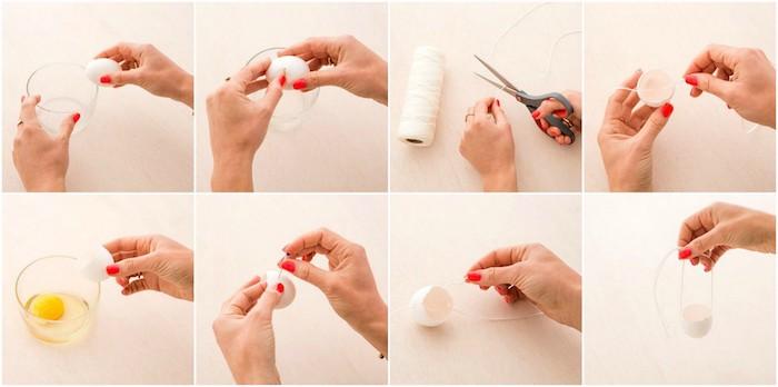 comment faire un pot suspendu en coquille d oeuf vidée et suspendue à un fil, activité manuelle paques