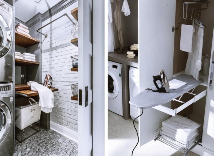 idée rangement cellier aux murs gris avec pan de mur en briques blanches et carrelage de sol gris et blanc, modèle d'étagère murale de bois foncé